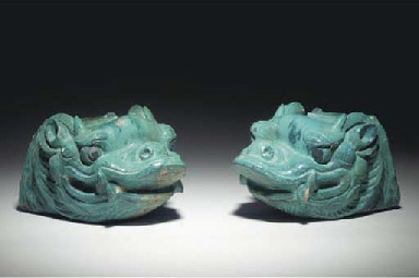 A PAIR OF CHINESE TURQUOISE-GL