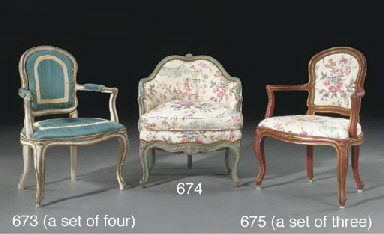 A SET OF THREE RED-PAINTED AND