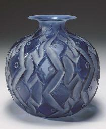 'PENTHIEVRE', A BLUE GLASS VAS