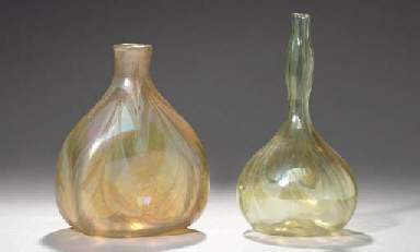 TWO DECORATED FAVRILE GLASS VA