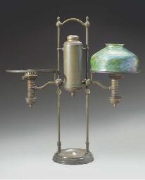 A FAVRILE GLASS AND BRONZE STU