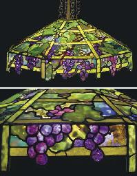 A 'GRAPE TRELLIS' LEADED GLASS