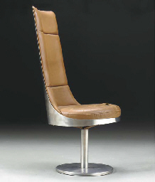 A STEEL AND LEATHER SWIVELING
