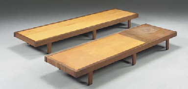 TWO SIMILAR WALNUT BENCHES
