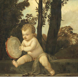 A putto playing the tambourine