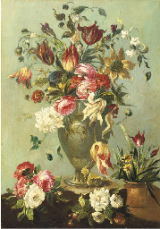 Flowers in a vase on a stone l