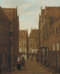 A city view with figures conve
