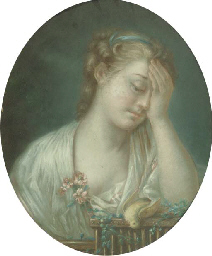 A young girl mourning