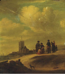 Fishermen and townsfolk on the