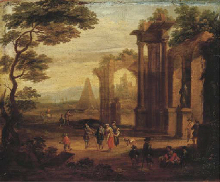 An Italianate landscape with f