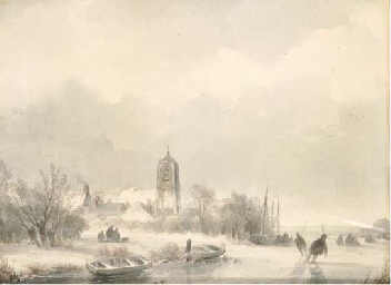 A polder landscape in winter