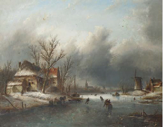 Skaters on a frozen river, a t