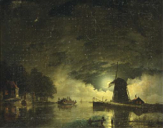 A ferry crossing by moonlight