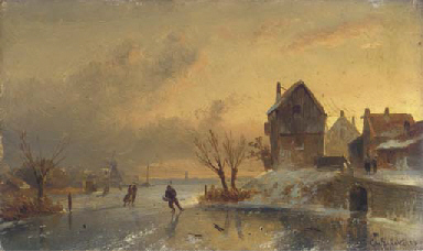 Skaters on a frozen river at d