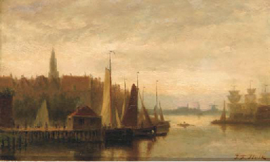 View of a harbour town at dusk