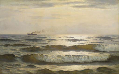 Solglans paa havet: sun glimme