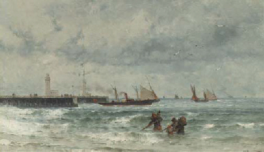 Shipping by a harbour entrance