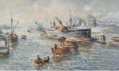 A busy harbour, Rotterdam
