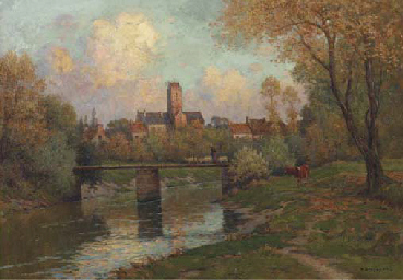 View of a town in autumn