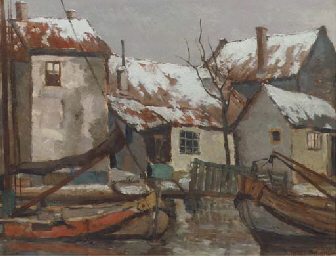 Moored boats in a Dutch town