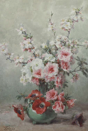 Apple blossom, anemones and ro