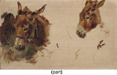 Studies of a donkey (recto); a