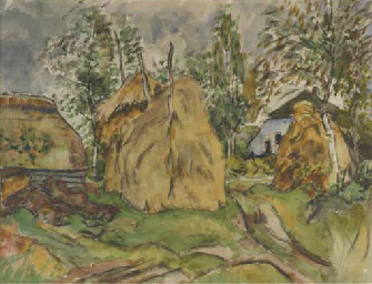 Farmhouses with haystacks in D
