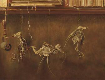 Stilleven met vogelskeletjes -