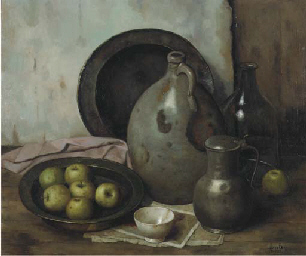 A still life with apples, pewt
