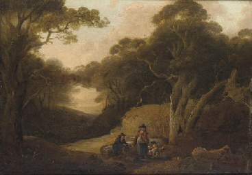 Figures resting in a woodland