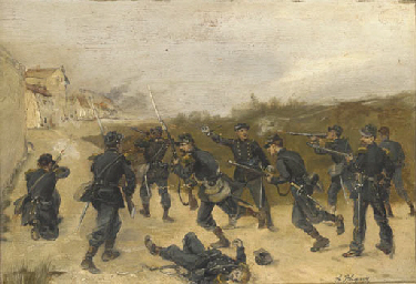 French soldiers storming a tow