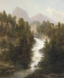 An Alpine waterfall