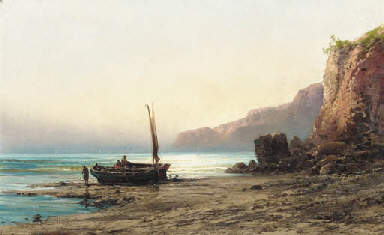 A fishing boat and figures on