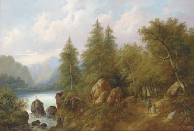 Travellers in a wooded landsca