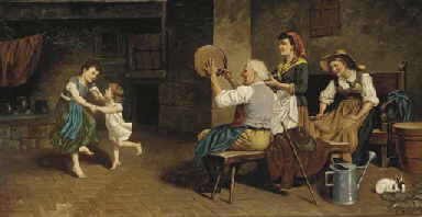 Peasants dancing in a kitchen