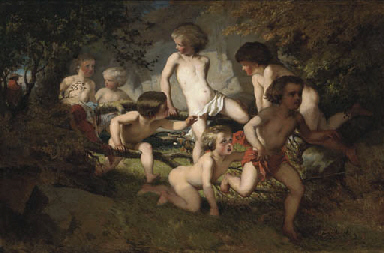 Bathing boys frightened by a g