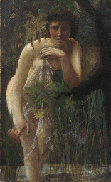 A female nude in a wooded land