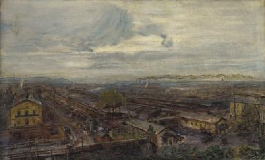 Railway sidings, at a continen