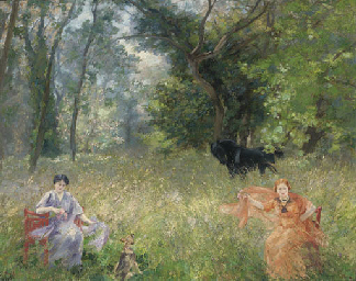 Flower pickers in a summer mea