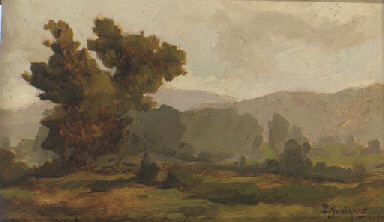 A landscape sketch with trees;
