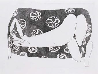 Woman on a Flowered Sofa