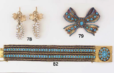 (2)  AN ANTIQUE TURQUOISE BROO