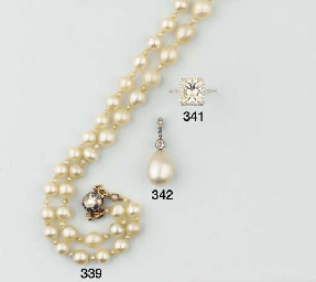 A FINE PEARL AND DIAMOND NECKL