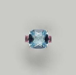A BLUE TOPAZ, PINK SAPPHIRE, D