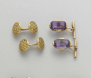 FIVE PAIRS OF GEM-SET, GOLD, P