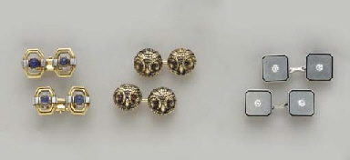 THREE PAIRS OF GEM-SET, GOLD A