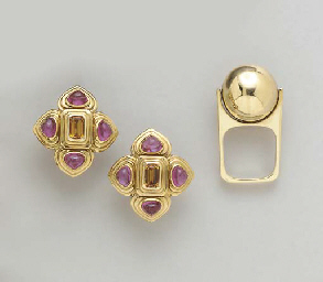 A GROUP OF GEM-SET AND GOLD JE