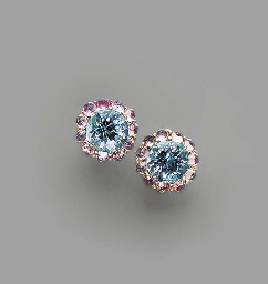 A PAIR OF BLUE TOPAZ, PINK SAP