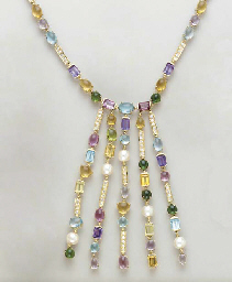 A MULTI-GEM AND 18K GOLD FRING