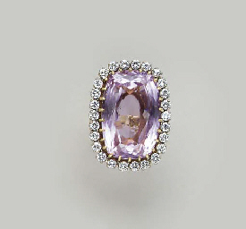 A KUNZITE, DIAMOND AND GOLD RI